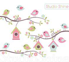 Digital Clipart The Best Nest Cute Birds Clip Art by StudioShine Bird Clipart, Different Birds, Bird On Branch, Pink Kids, Bird Drawings, Cute Birds, Bird Houses, Baby Quilts, Origami