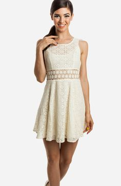 Lacy Daisy Dress. Wish sheer waist. Super cute in navy blue and white!