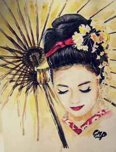 Geisha Girl Watercolor Print by PascualProductions on Etsy, $15.00  How beautiful.