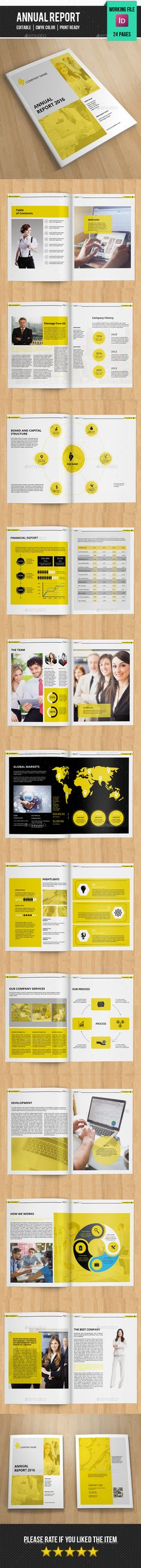 Annual Report Template InDesign INDD #design Download…