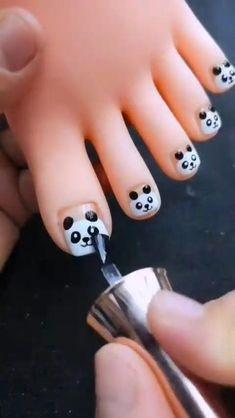 Nail Art Designs Videos, Nail Art Videos, Nail Art Hacks, Nail Art Diy, Panda Nail Art, Jolie Nail Art, Nail Art For Kids, Diy Acrylic Nails, Nagellack Design