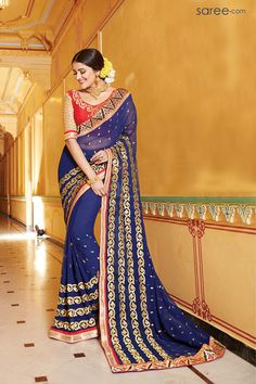 Browse our latest sarees collection online - fashionwebz. Order this arresting lace and resham work traditional saree for ceremonial, festival and party. Half Saree Lehenga, Georgette Sarees, Sari, Silk Sarees, Indian Wedding Outfits, Indian Outfits, Lingerie Set, Women Lingerie, Ethnic Trends
