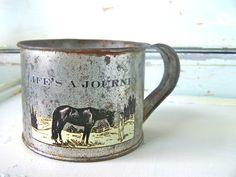 Vintage Tin Cup Modern Farmhouse Home Decor Horse by SweetMeas, $26.00