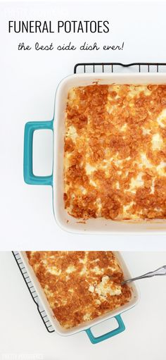 Funeral Potatoes recipe aka cheesy potato casserole -- this is the ultimate comfort food! Perfect side for family dinners, thanksgiving, christmas, etc!