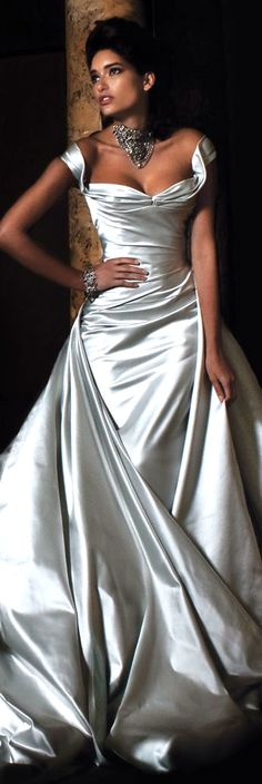 wedding dress, silver shimmer