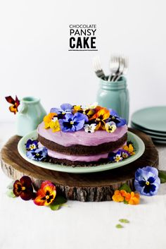 Celebrate springtime with this chocolate cake adorned with pansies.