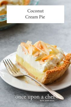 Filled with creamy coconut custard and covered in whipped cream and heaps of toasted coconut, this coconut cream pie is downright dreamy. Coconut Custard, Coconut Cream, Milk Cookies, Cookies Et Biscuits, Toasted Coconut Chips, Lime Pie, Dessert Recipes, Pie Recipes, Sweet Recipes