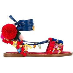 Dolce & Gabbana Pom-Pom Embellished Sandals (72.155 RUB) ❤ liked on Polyvore featuring shoes, sandals, multicolour, open toe flats, leather flat shoes, embellished flats, leather shoes and flats sandals