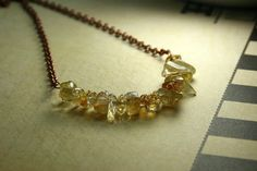 Tumbled Citrine Nugget Strand and Copper by AllowingArtDesigns