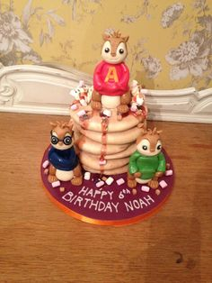 Birthday cake! Alvin and the chipmunks sitting on toasted waffles with maple syrup. Yum. www.jeliloves.co.uk