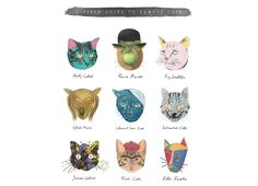 Lots of Famous Cats! » A Field Guild to Famous Cats »  Art & Meow by Elly Liyana on Threadless.com