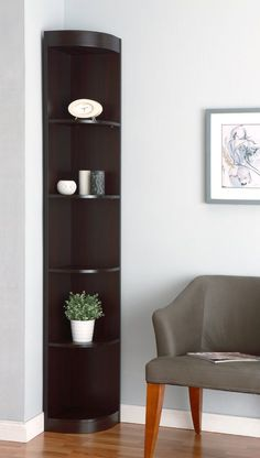 Furniture of America Smith Five-Tier Corner Display Stand - Enitial Lab Features: Transitional StyleFive open shelves for storageCurved shelf frontsFits in corners perfectlyClosed back panelMaterial: MDF, Veneer, WoodAssembly RequiredFi Corner Furniture, Room Corner, Corner Shelf Design, Corner Bookcase, Furniture, Shelves, Living Room Corner, Home Decor, Corner Decor