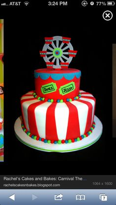 Carnival cake, Ferris wheel topper