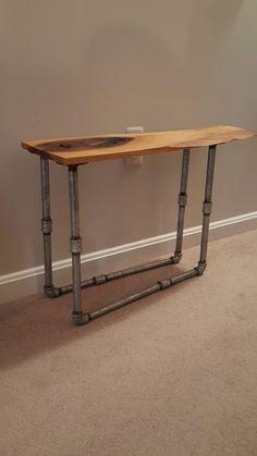 Wood Slab Side Table, Pipe Legs, Reclaimed End Table