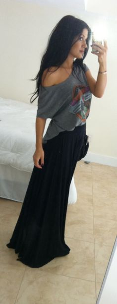 Maxi skirt and off the shoulder t-shirt