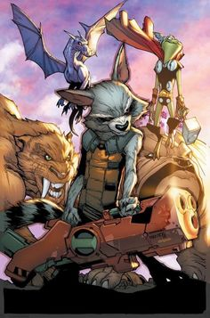Rocket Raccoon with the Pet Avengers