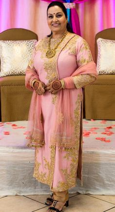 Our lovely client in a gorgeous pink Pakistani style suit designed by #Wellgroomedinc! ✨