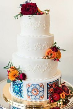 A wedding cake with a Spanish flavour perfect for a destination wedding. A wedding cake with a Spanish flavour perfect for a destination wedding. Chic Wedding, Elegant Wedding, Rustic Wedding, Dream Wedding, Garden Wedding, Wedding Ideas, Romantic Weddings, Perfect Wedding, Elegant Chic