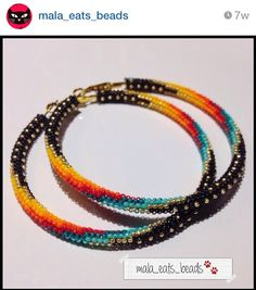 beaded hoops, Mala Eats Beads. Beautiful use of color in these earrings.
