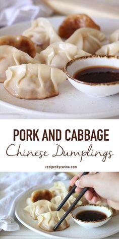Pork And Cabbage Dumpling Recipe, Asian Dumpling Recipe, Dumpling Filling Recipe Pork, Pork And Shrimp Dumplings Recipe, Chinese Chicken Dumplings, Steamed Pork Dumplings, Wonton Recipes, Pork Recipes, Asian Recipes