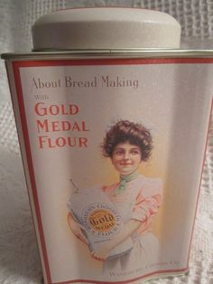 GOLD MEDAL Flour Tin Container by Washburn Crosby Co. White Americana Advertising. $7.50, via Etsy.