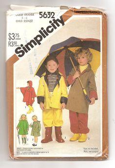 1980' Patron Simplicity 5632 Manteau Imperméable Poncho Pantalon enfant Rétro…