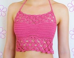 Laced tankini top crochet pattern / Halter by AkariCrochetPatterns