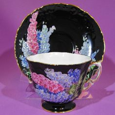 AYNSLEY BLACK TEA CUP and SAUCER QUATREFOIL PINK and BLUE DELPHINIUM
