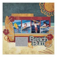 Beach Bum - Traveler Cricut Scrapbooking Layout Idea