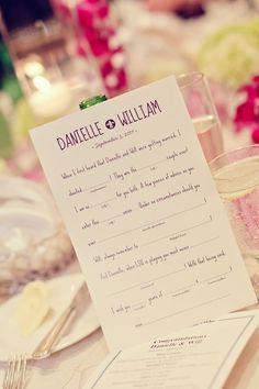 Wedding Fill In The Blank Card