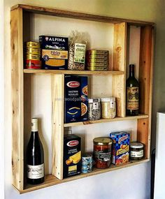 If anyone is in tension due to low storage space in the kitchen for placing the spice bottles, then here is the solution. Anyone can copy this kitchen shelving with pallets idea for increasing the storage space in the kitchen to place the items in an organized way.