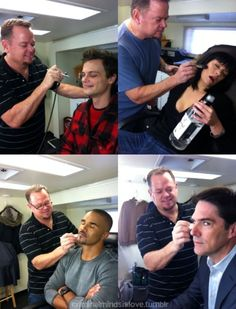 Criminal Minds actors getting their makeup done. Check out Emily's.