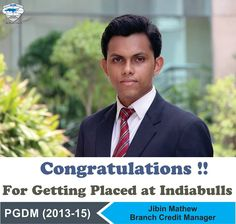 Continuing the string of excellent placements at Asia Pacific Institute of Management, New Delhi, we wish our heartiest Congratulations to Jibin Mathew for getting placed as an Branch Credit manager with Indiabulls.