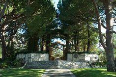 Outside Wayfarers Chapel located in Palos Verdes California