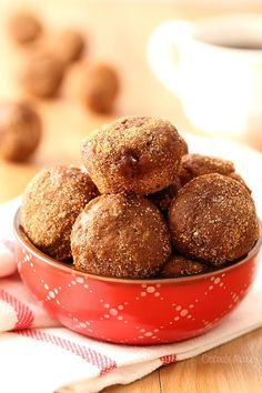 Apple Butter Baked Doughnut Holes filled with apple butter