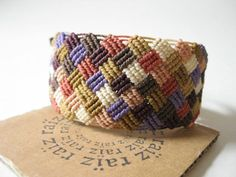 Patchwork Macrame Bracelet Pastel Jewelry Textile Checkered ~ Handwoven Bohemian Hippie Chic Friendship Bracelet ~ by raïz