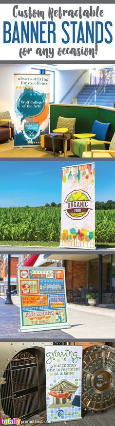 Customize our retractable banner stands with your logo or graphics, ideal for any company, brand, school, event or business! Browse our huge selection of banner stand styles and sizes to fit any budget!  Use coupon code PINBANNER10 and receive 10% off your banner stand order!  Sale applies to all banner stands, banner stand packages and banner stand hardware and accessories. Not valid with other coupon codes and expires September 30, 2016. #bannerstand