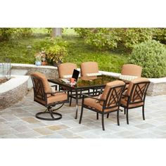 Hampton Bay Cedarvale 7-Piece Patio Dining Set with Nutmeg Cushions-133-008-7D at The Home Depot