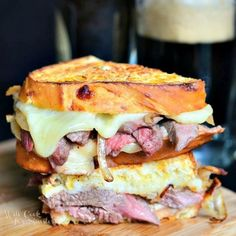 Make dad's lunch amazing with this Steak & Onion Grilled Cheese! Steak, caramelized onions and sharp white cheddar.