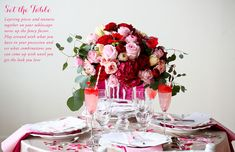 The Everygirl's Valentine's Day Soiree // table setting // fresh flowers // cocktails // pink and red // Hey Gorgeous Events // photography by Kelly Braman Photography