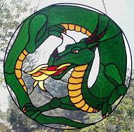 dragon stained glass hanging panel