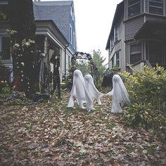 Ghosts. Halloween props outdoor