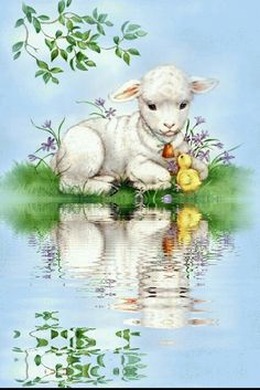 Easter Illustration, Cute Animal Illustration, Sheep Paintings, Animal Paintings, Easter Lamb, Easter Bunny, Vintage Easter, Vintage Holiday, Easter Pictures