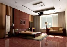 Top 12 Exotic Asian Style Bedroom Designs : Modern Chinese Asian Style Bedroom Design with Beautiful LowProfile Bed and Two Seat Wooden Fram...