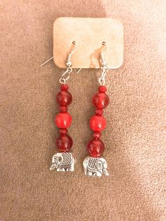 Shades of Red Collection Elephant pendant earrings