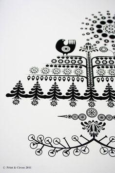 Tree screen print. Love the folk art look.