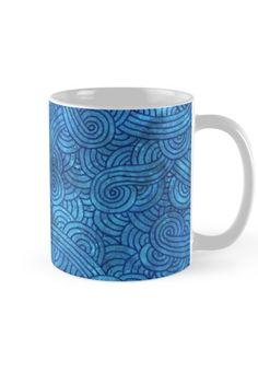 """Turquoise zentangles"" Mug by Savousepate on Redbubble #mug #pattern #zentangles #scrolls #doodles #turquoise #aqua #blue"