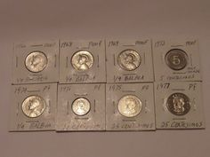 LOT OF 8 PROOF PANAMA COINS 1966 - 1977