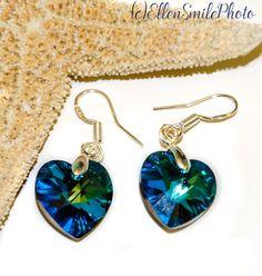 Bermuda blue Swarovski heart earrings, sterling silver, blue Swarovski heart crystal, Ocean jewelry, blue heart earrings, Swarovski set