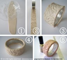 "DIY bangles with clay....I want to try the ""metal"" clays too"